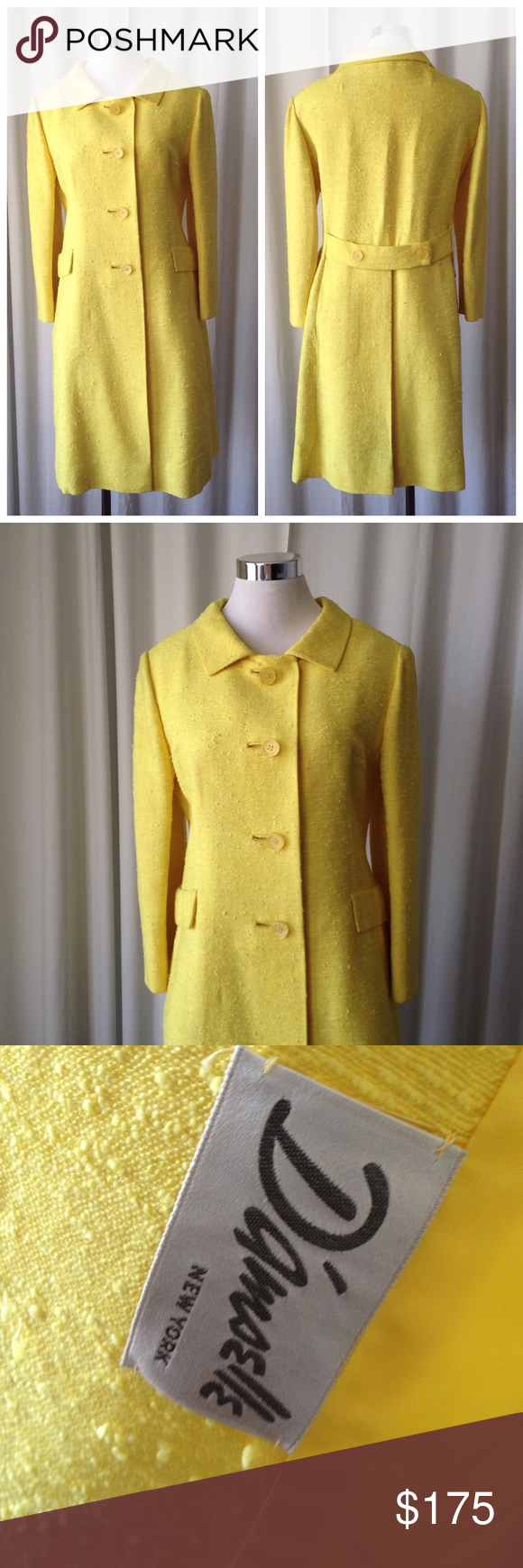 """Vintage 60's D'amselle yellow coat S/M Vintage 60's D'amselle NY bright yellow coat Mod excellent conditions  Made in USA  Measurement  Arm pit to arm pit 20"""" Waist 18"""" Length 39"""" Sleeve 21"""" Shoulder 17"""" D'amselle Jackets & Coats"""