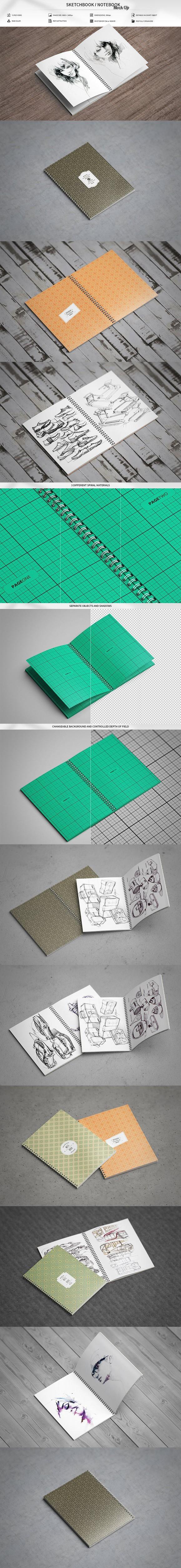 Sketchbook Notebook Mock Up Photoshop Textures Sketch Book Mockup