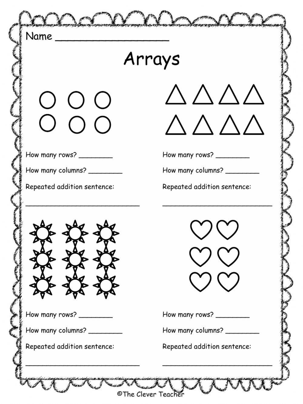 Repeated Addition and Arrays Arrays Interactive Worksheet   Array worksheets [ 1332 x 1000 Pixel ]