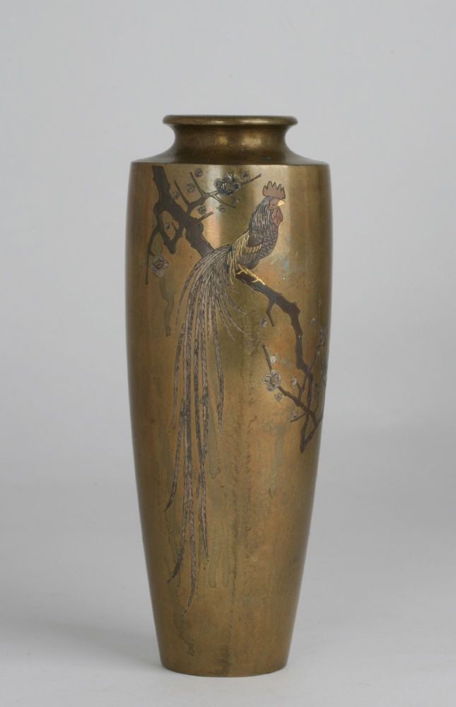 Antique Japanese Inlaid Bronze Vase By Nogawa Gold Silver Copper