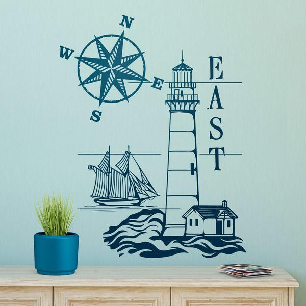 Vinilos decorativos faro mar timo y rosa de los vientos - Nudos marineros decorativos ...