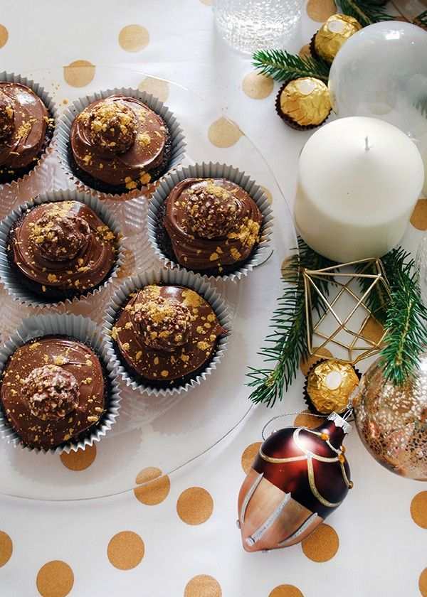 Recipe Gold-Flecked Ferrero Rocher and Nutella Cupcakes Foods