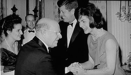 Jackie brought artists to the White House. Here they greet Cellist Pablo Casals.
