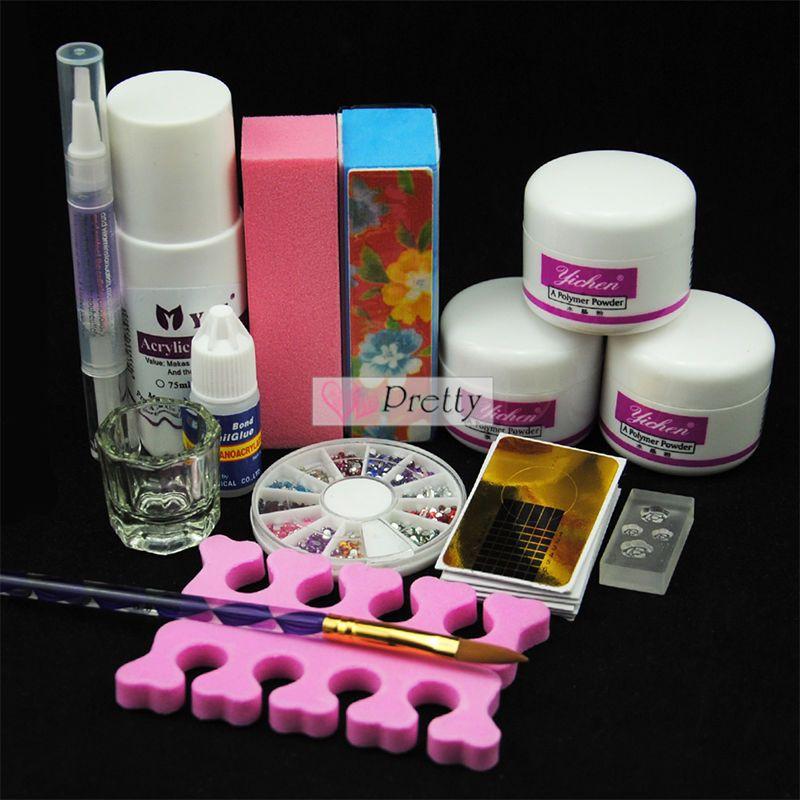 Pro Nail Art Kit Acrylic Liquid Powder Pen Dappen Dish Set Tips ...
