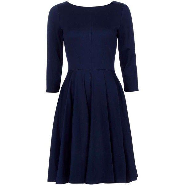 Closet Navy Long Sleeve Fit Flare Dress Fit Flare Dress Long Sleeve Navy Dress Navy Blue Long Sleeve Dress
