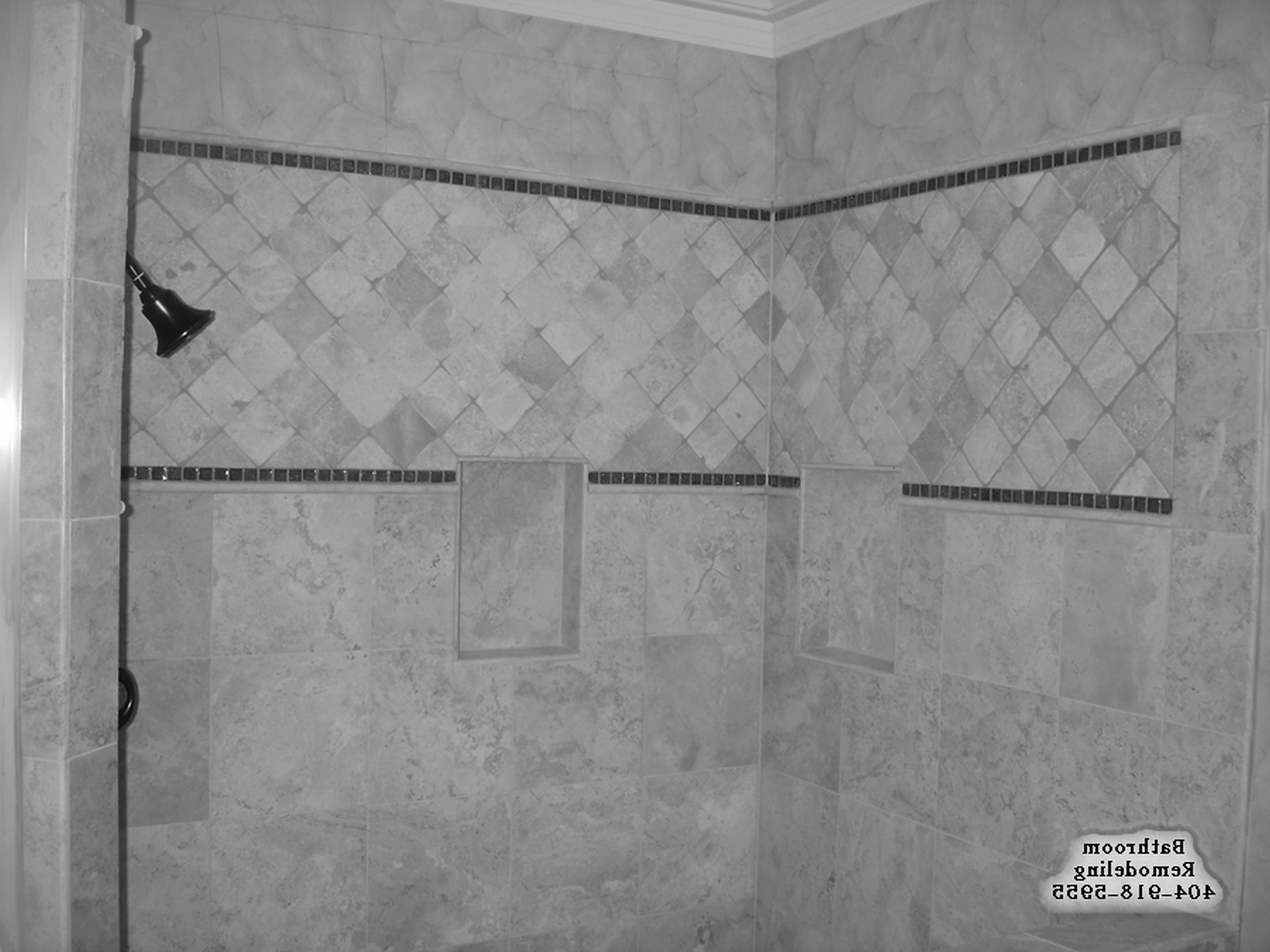 Wonderful White Ceramic Travertine Shower Tile Ideas Combine With Fascinating Black And White Mosaic Tile Bathroom 2018