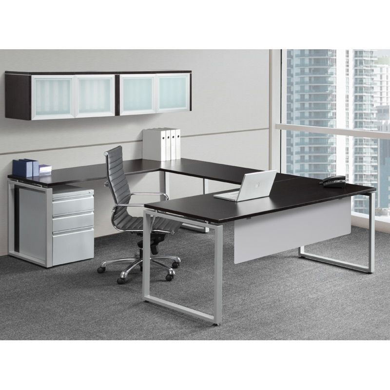 Espresso U Shaped Desk With Silver Legs And Modesty Panel. Wall Hutch With  Glass/aluminum Doors. Available At Alternative Office Solutions