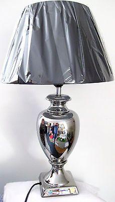Tischleuchte Design Lampe Tischlampe Keramik Silber Mit Schwarzem Schirm  39/56 C