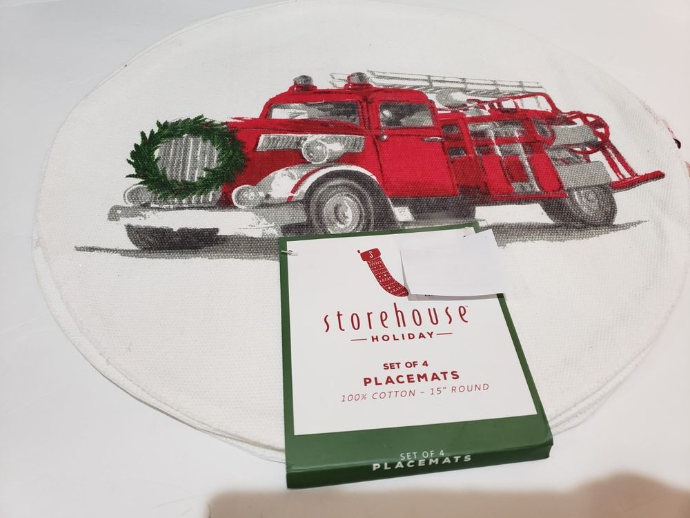Vintage Red Truck Christmas Placemats.Storehouse Holiday Christmas Red Vintage Fire Engine Truck
