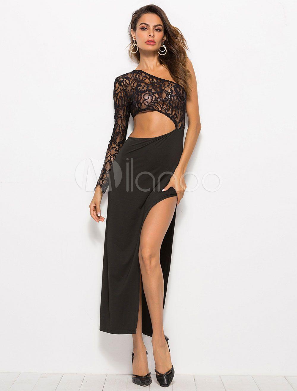 80a7cda6c37 Black Club Dress Long Sleeve One Shoulder Split Sexy Maxi Dress  Dress