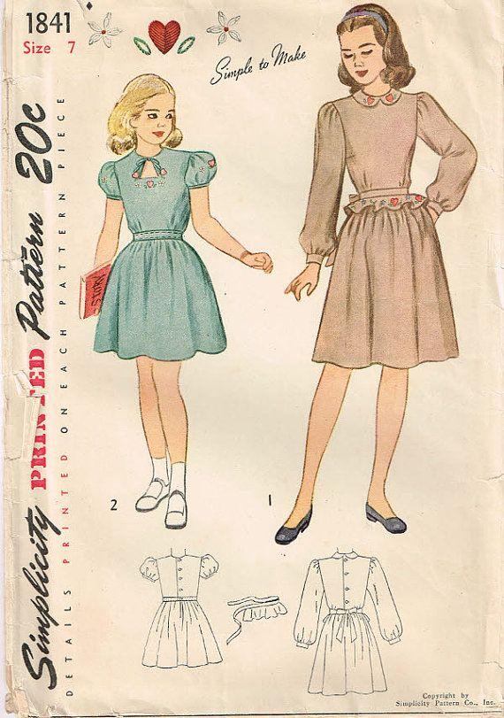 1841 simplicity girls dress with dirndl skirt, belt, peplum, Peter ...
