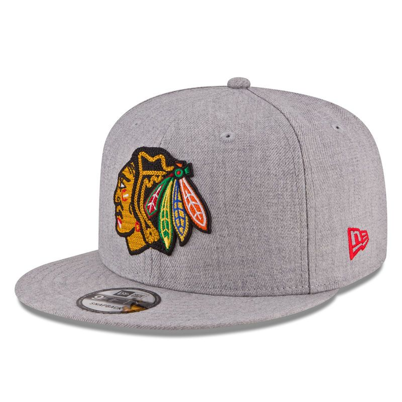 timeless design bbb01 05f84 Chicago Blackhawks New Era Heather Crisp 9FIFTY Snapback Adjustable Hat -  Gray