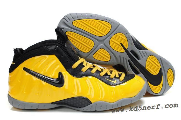 Nike Foamposite Pro Yellow Black New Basketball Shoes