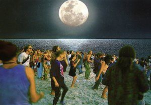 Night party at a beach