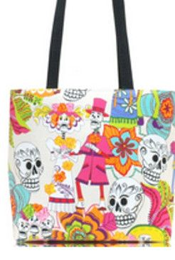 Los Novios - Dia De Los Muertos - Small Bucket Bag | RockinRoses - Bags & Purses on ArtFire