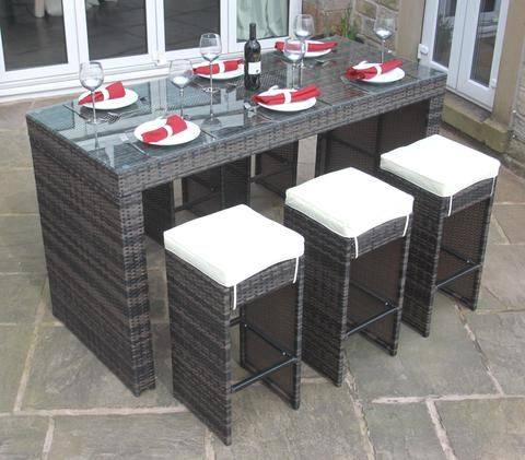 rattan outdoor garden furniture 6 seat bar set in brown modern furniture deals