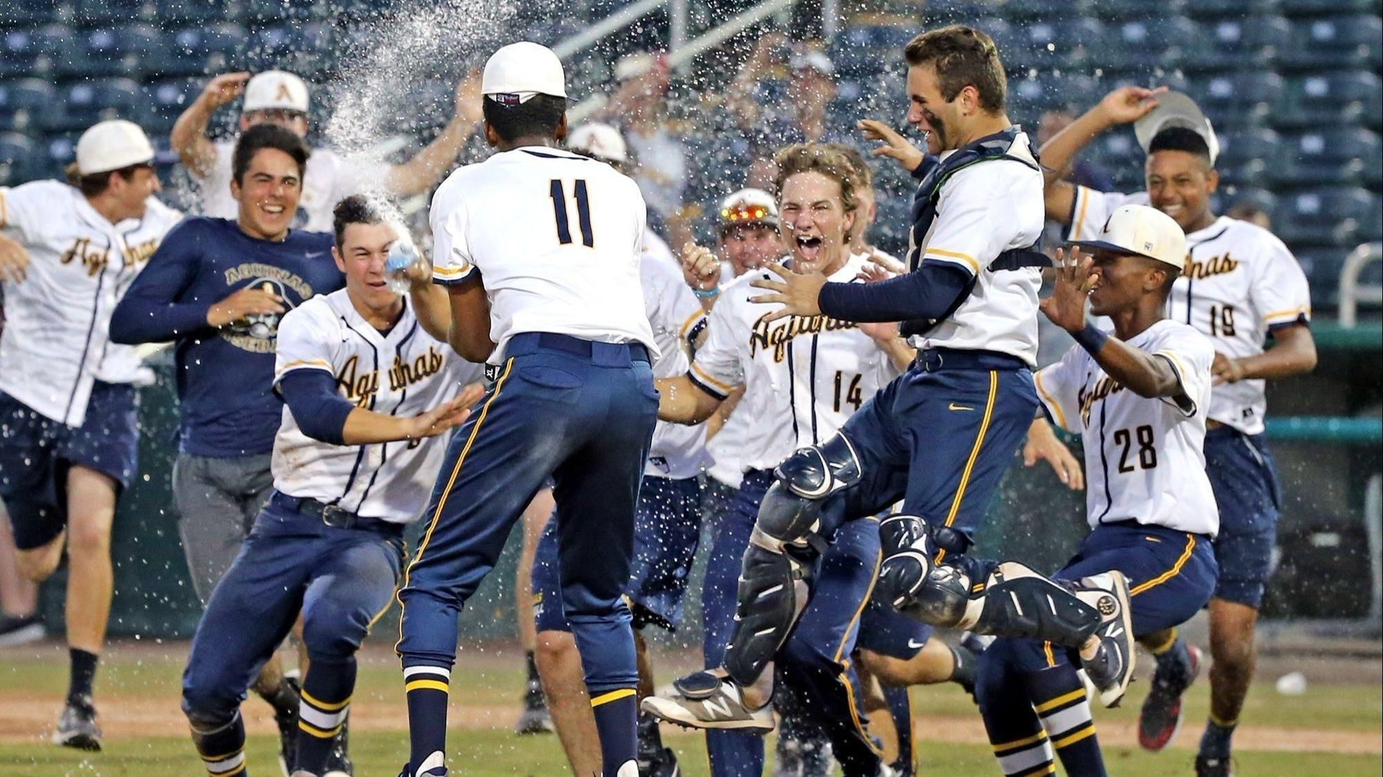 St Thomas Aquinas Rolled In The Class 8a State Baseball Championship Game Topping Sarasota For The Raiders Championship Game Sports Complex Thomas Aquinas