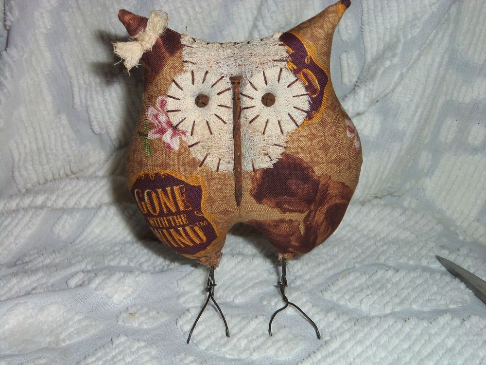 "Primitive Owl Doll-Gone with the Wind-Free Standing on Wire ""Bird"" Legs"