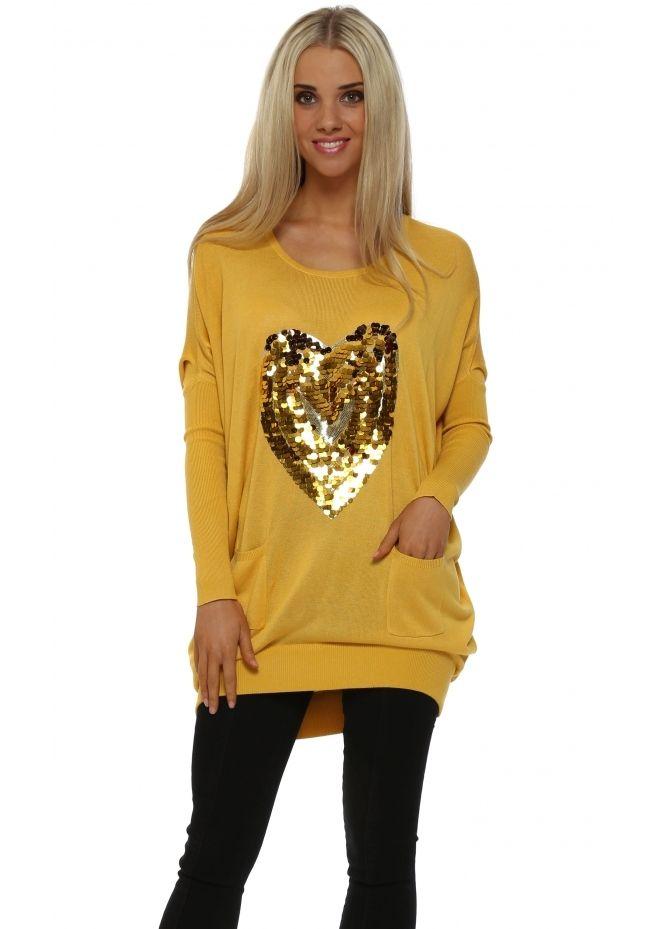 c0e03550d9b JS MILLENIUM Mustard Sequinned Heart Oversized Jumper