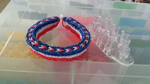 Triple plus bracelet  made on monster tail by me for 4th of July!