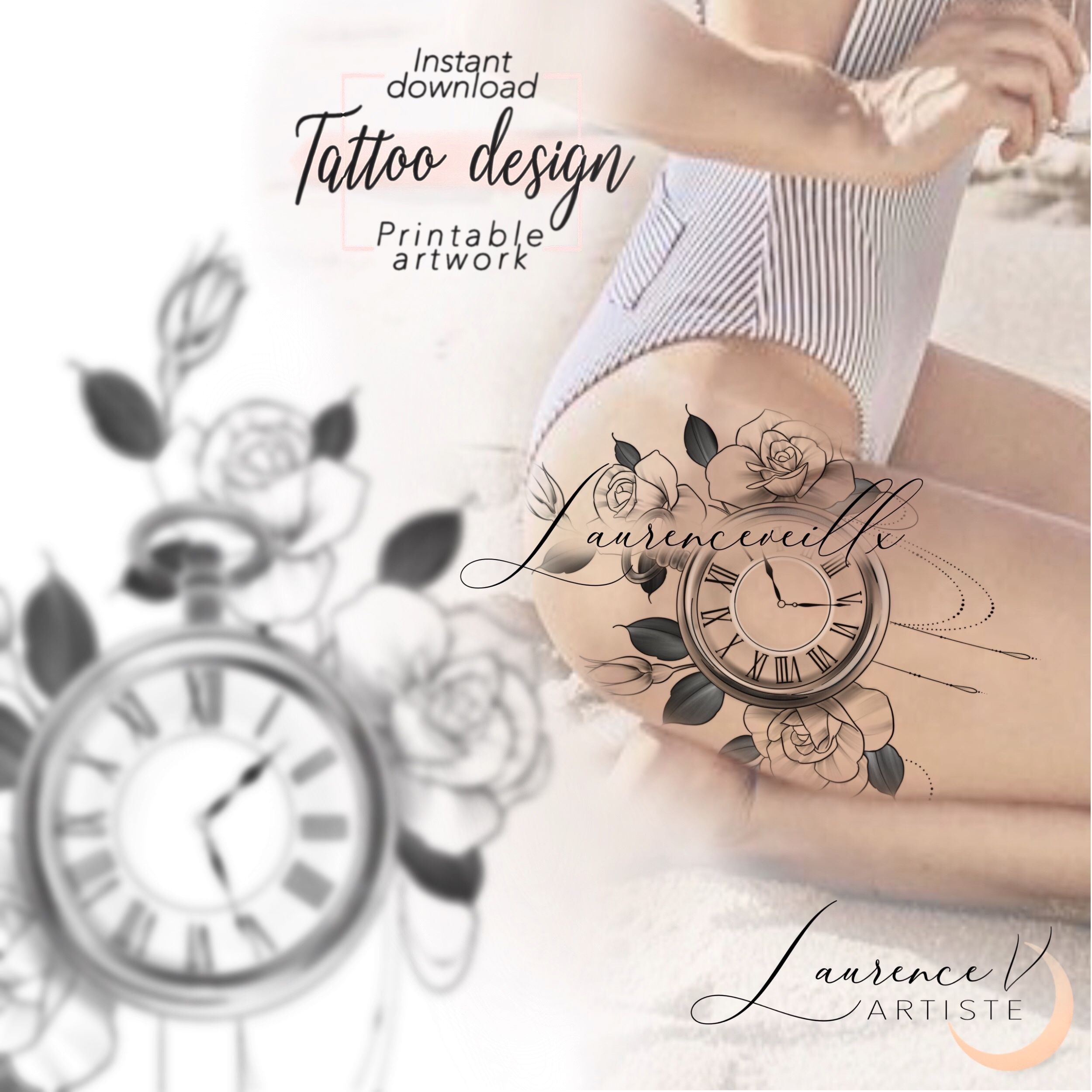 Instant Download Tattoo Design Clock And Roses Floral Tattoo Printable Stencil Template Tattoo Designs Half Sleeve Tattoo Template Printable Tattoos
