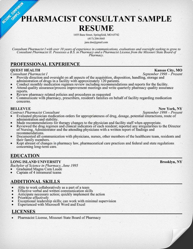 Pharmacist Consultant Resume Sample (resumecompanion) Resume - pharmacy resume examples