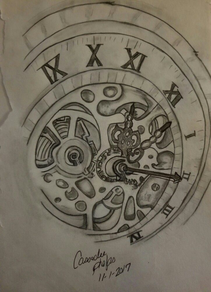 Spiral Roman Numeral Clock With Exposed Gears Compass Tattoo