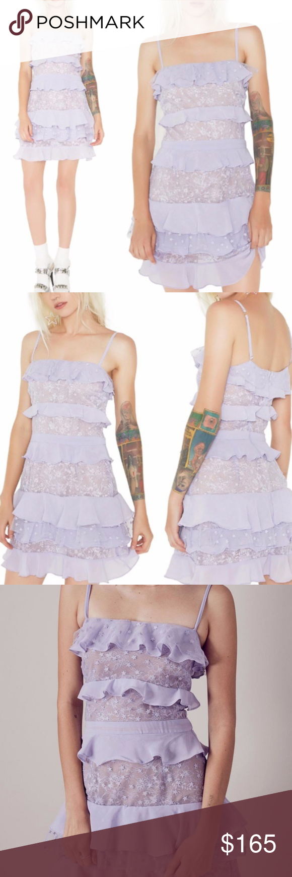 c0c581fd19f NWT For Love and Lemons Cosmic Tiered Lace Dress NWT For Love and Lemons  Pale purple