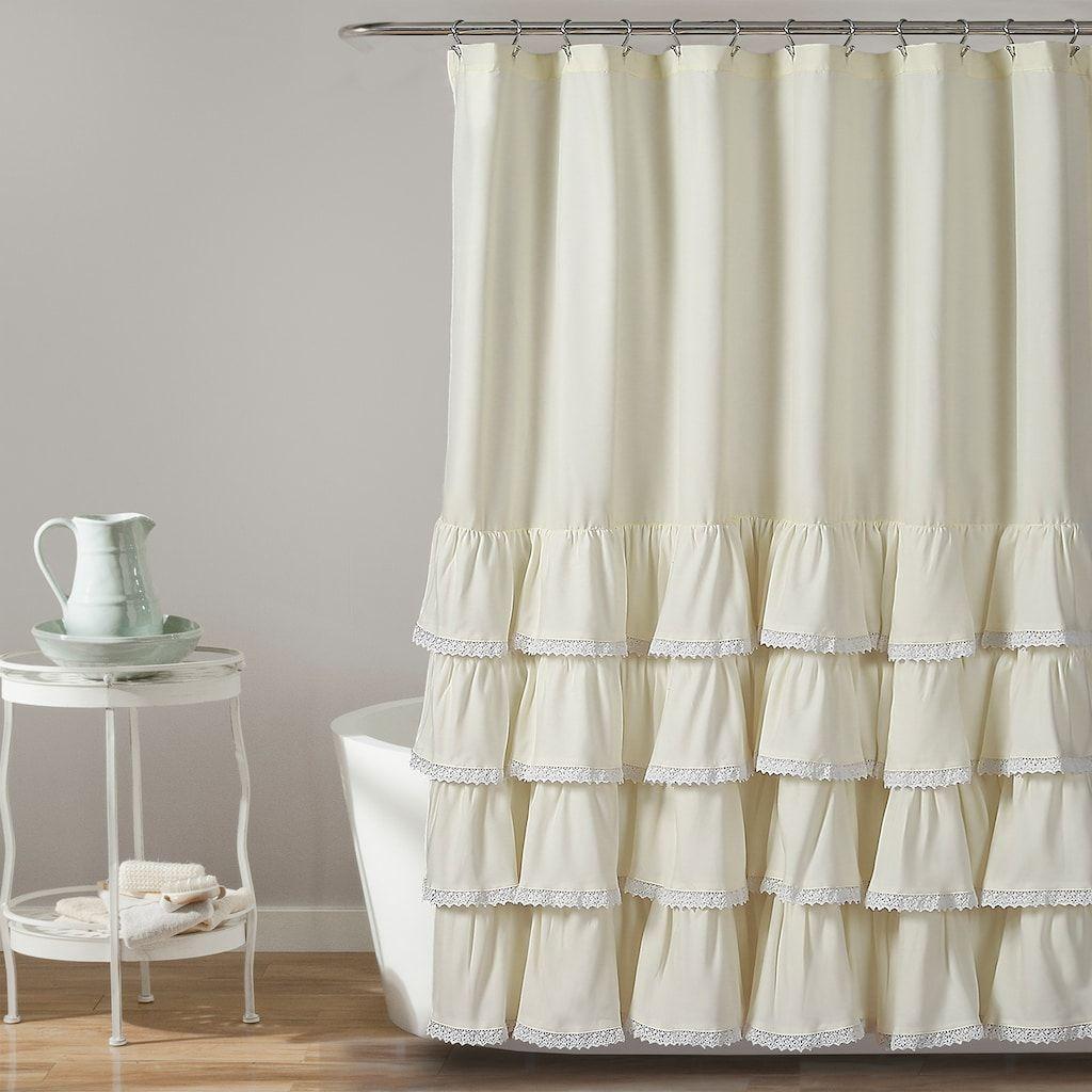 Lush Decor Ella Lace Ruffle Shower Curtain Beig Green Beig Khaki