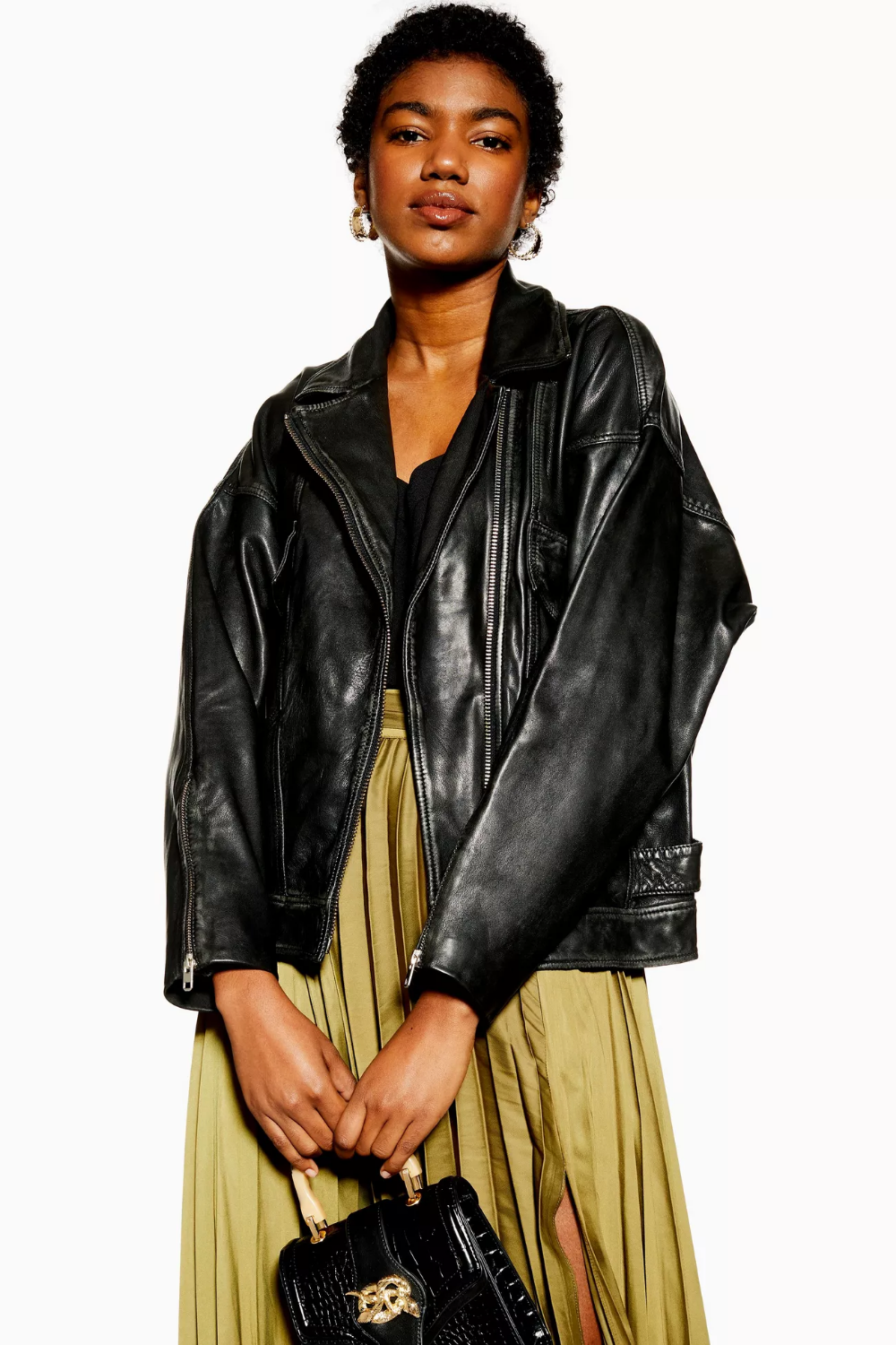 Oversized Leather Biker Jacket Jackets, Black leather