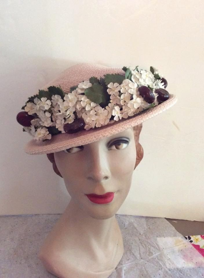 Vintage 1940s 1950s Hat Pink Straw With Fruit Flowers Hats Hats Vintage Vintage Clothing Boutique