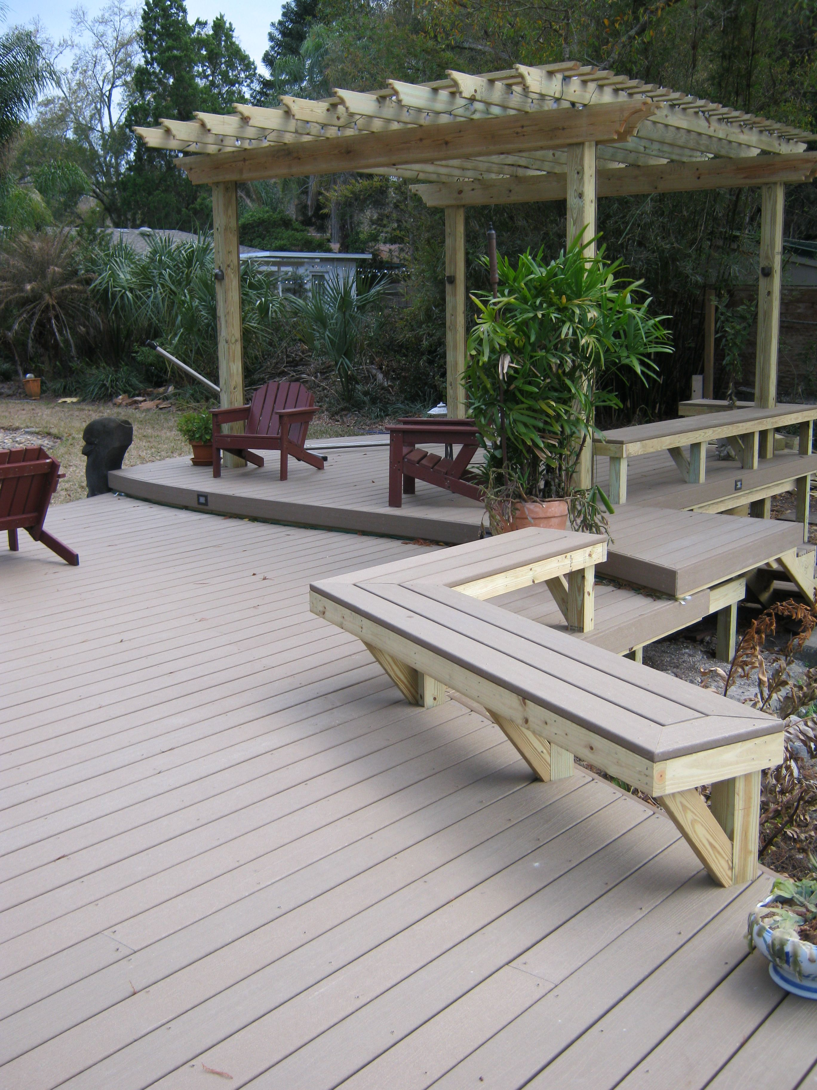 Built in composite deck benches wise women pinterest for Outdoor composite decking