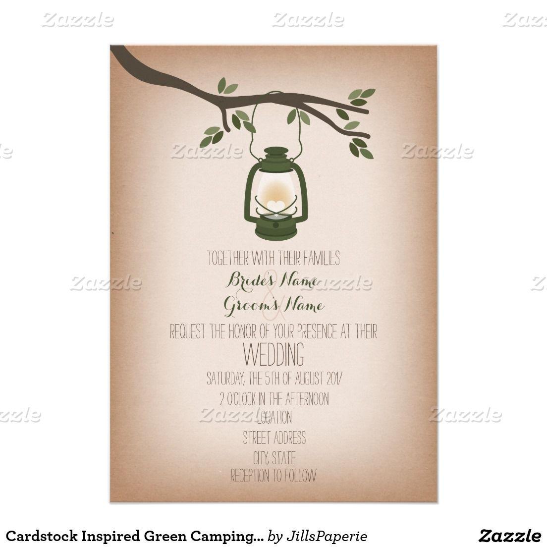 Cardstock Inspired Green Camping Lantern Wedding Card Camping