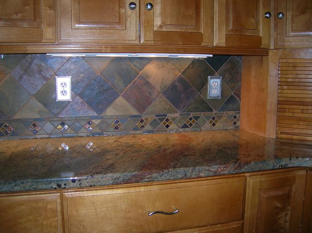 Kitchen Backsplash 4 Slate Tile On Point By Cecejewell Via Flickr