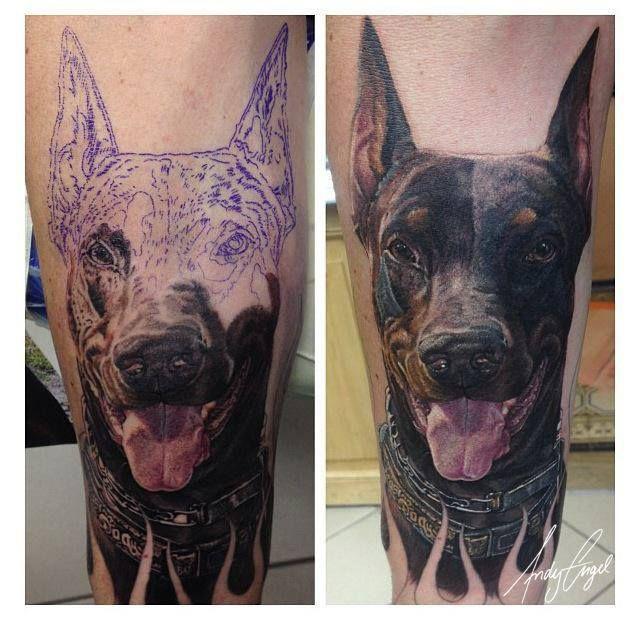 Realistic Dog Face Tattoo On Leg Click On The Pic For More Tattoos Dog Memorial Tattoos Dog Tattoos Doberman Tattoo
