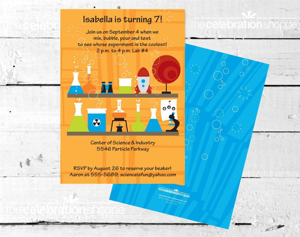 SCIENCE Birthday Party INVITATION from The Celebration Shoppe ...