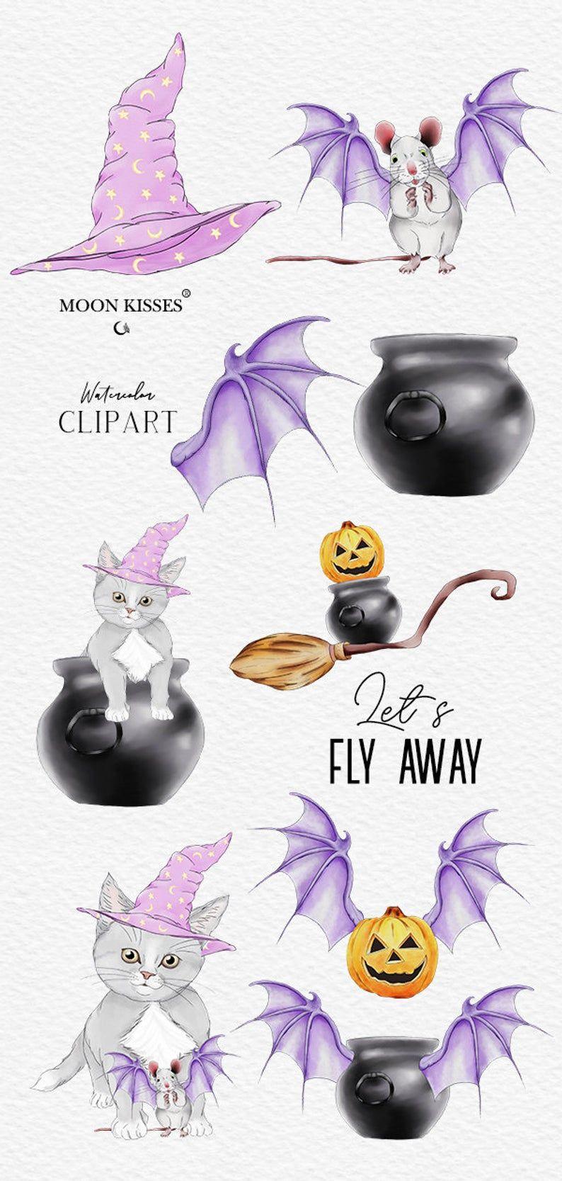 Halloween clip art Cute halloween animals clip art image 3