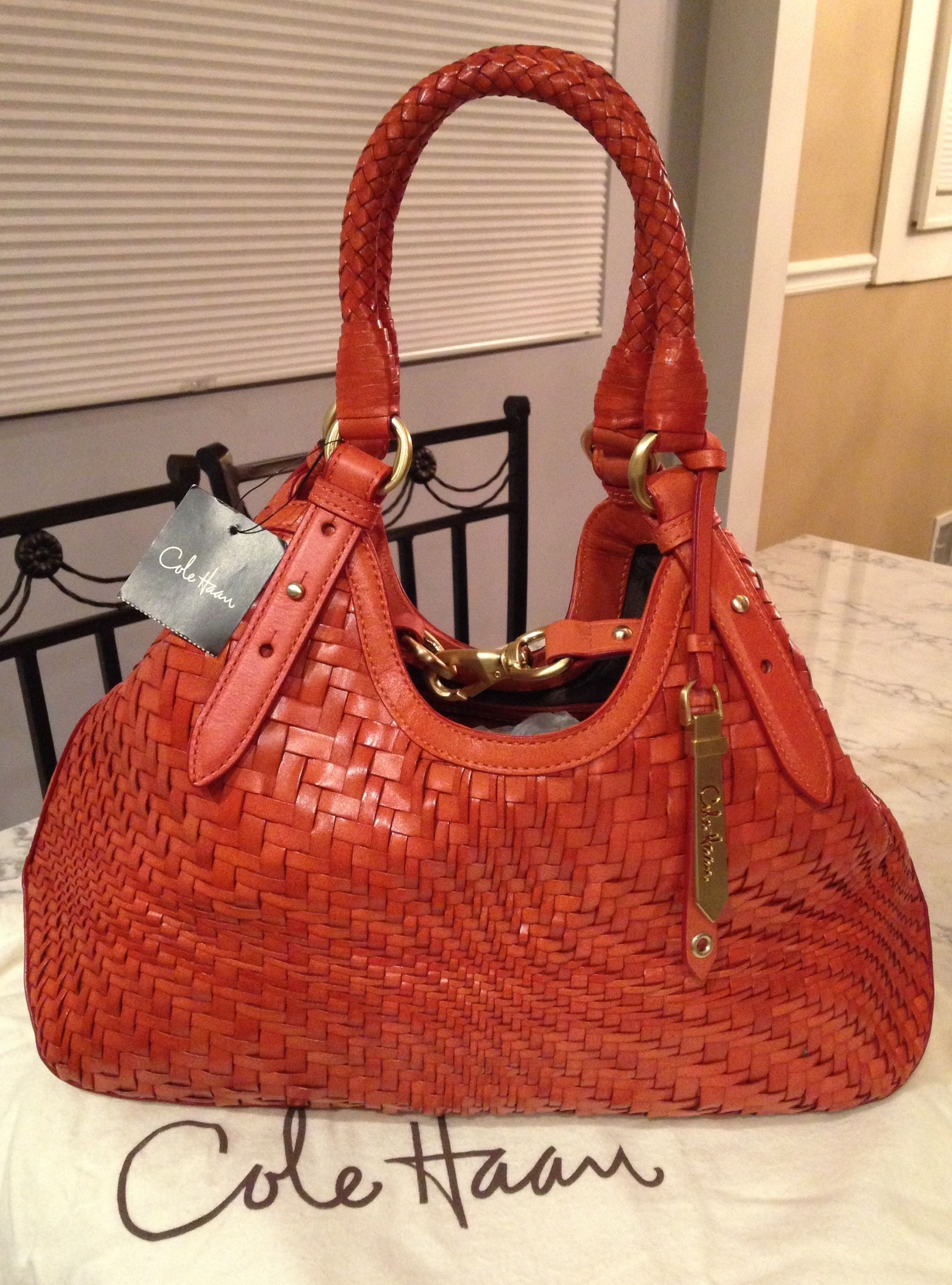 Cole Haan Nwt! Genevieve Woven Leather Hobo Satchel Handbag Spicy Orange    Golden Brown Tote Bag. Get one of the hottest styles of the season! 367e9f49df077