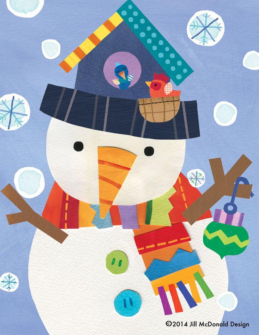 Картинки аппликаций снеговиков
