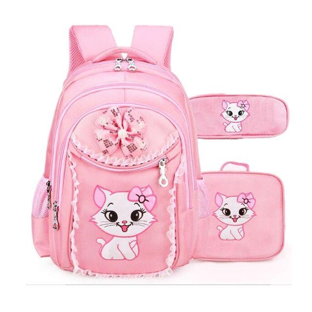 Sweet Cat Children Cartoon School Bags Pupil Girl Korean Cute Princess  Backpacks Mochila Infantil Review f8f544d723b18