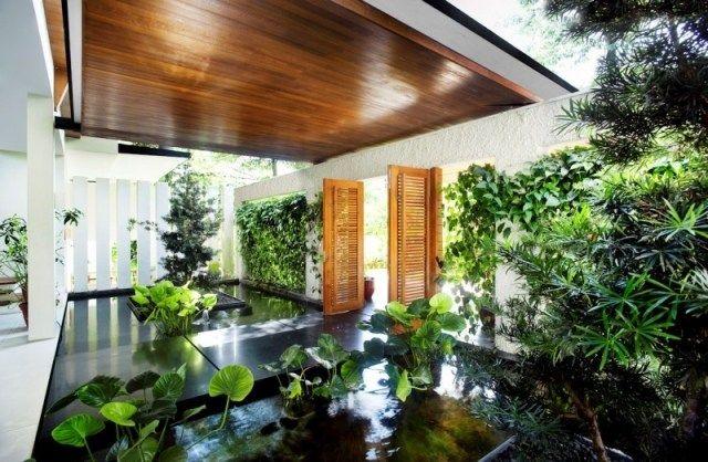 Moderne Architektur-Begrünung hauseingang-lebendige Pflanzen - Ideen Fur Deckengestaltung