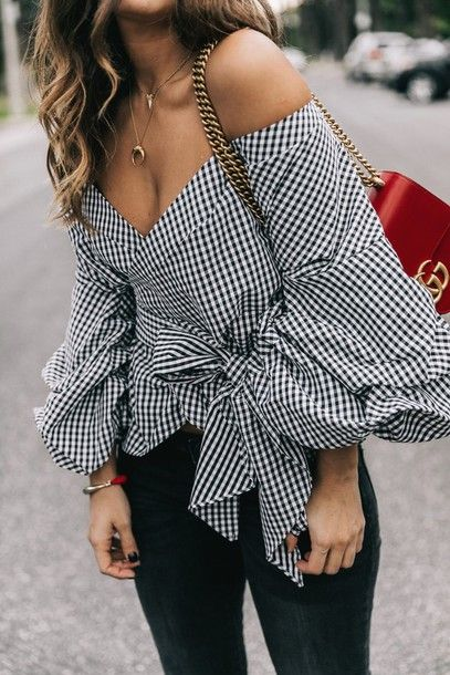 262a7ca50cdd0e $50 Black And White Gingham Checked Off The Shoulder Puff Sleeve Ruffled  Tie Waist Detail Blouse With Plain Black Skinny Jeans And Half Moon  Crescent Gold ...