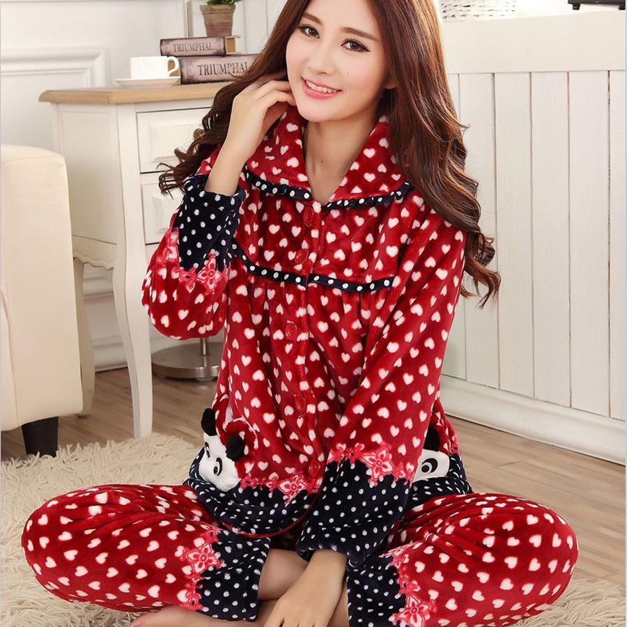 Red flannel pajamas  Pcslot Highgrade genuine autumn winter thick coral velvet pajamas