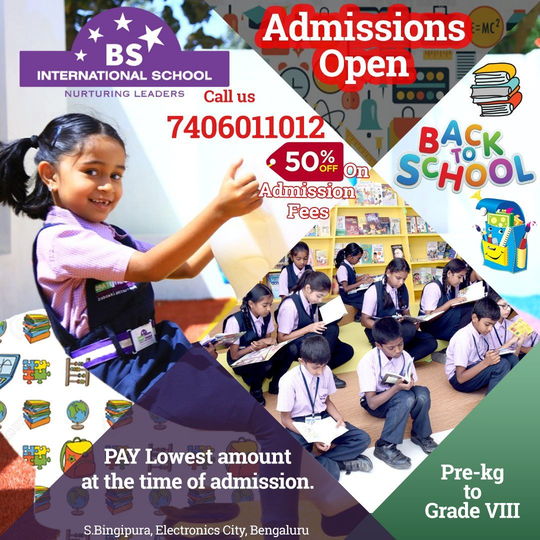 50 discount on admission fees. BS International School, E