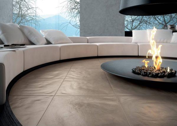 Lounge Sofa Rund Kamin Einrichtungsideen Wohnzimmer