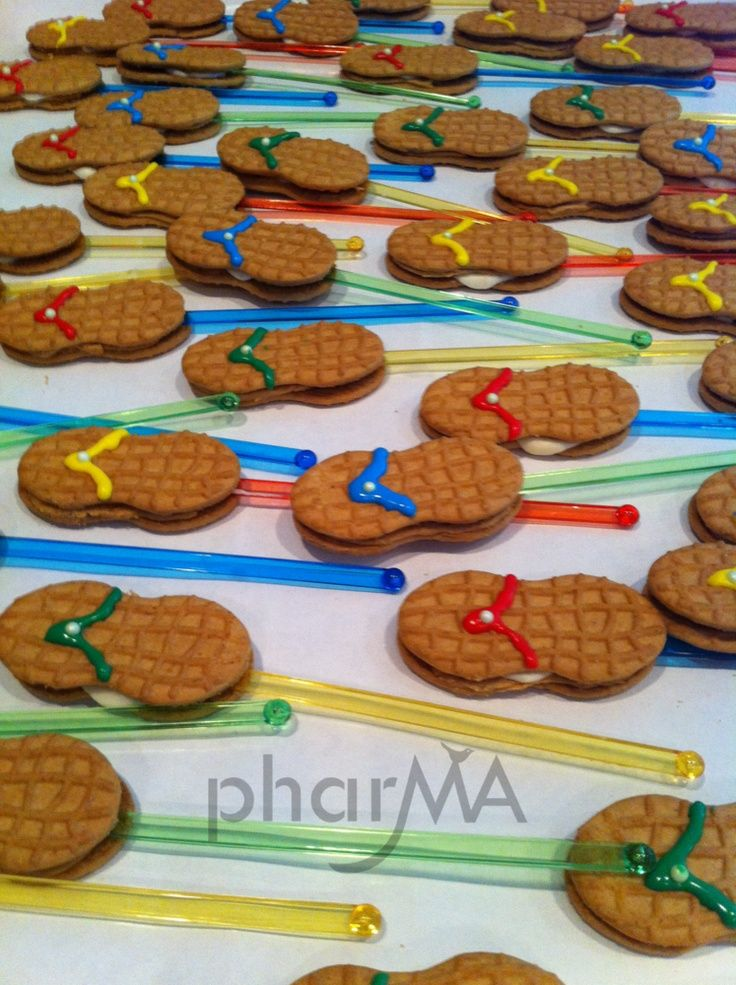 Flip Flop Cookies from The Pharma Blog.  Great for summer/beach themed party or last day of school.
