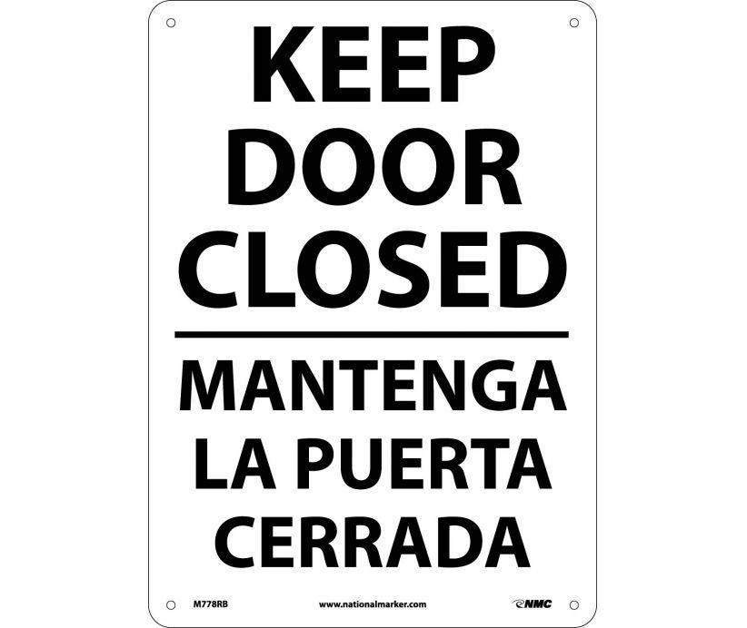 No Header Bilingual Sign M778rb Nmc 14x10 Plastic Each Close The Door Sign Closed Doors How To Speak Spanish