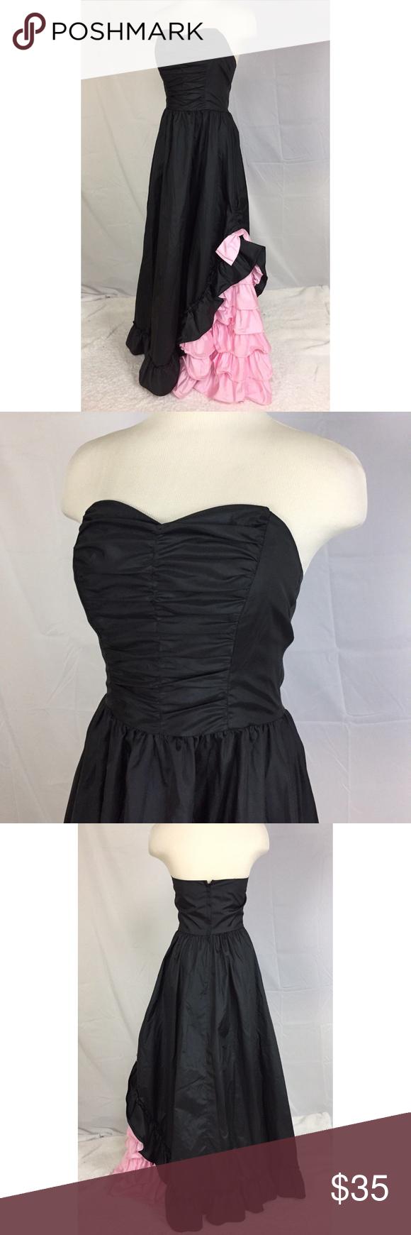 Evening prom dress s strapless black pink my posh picks