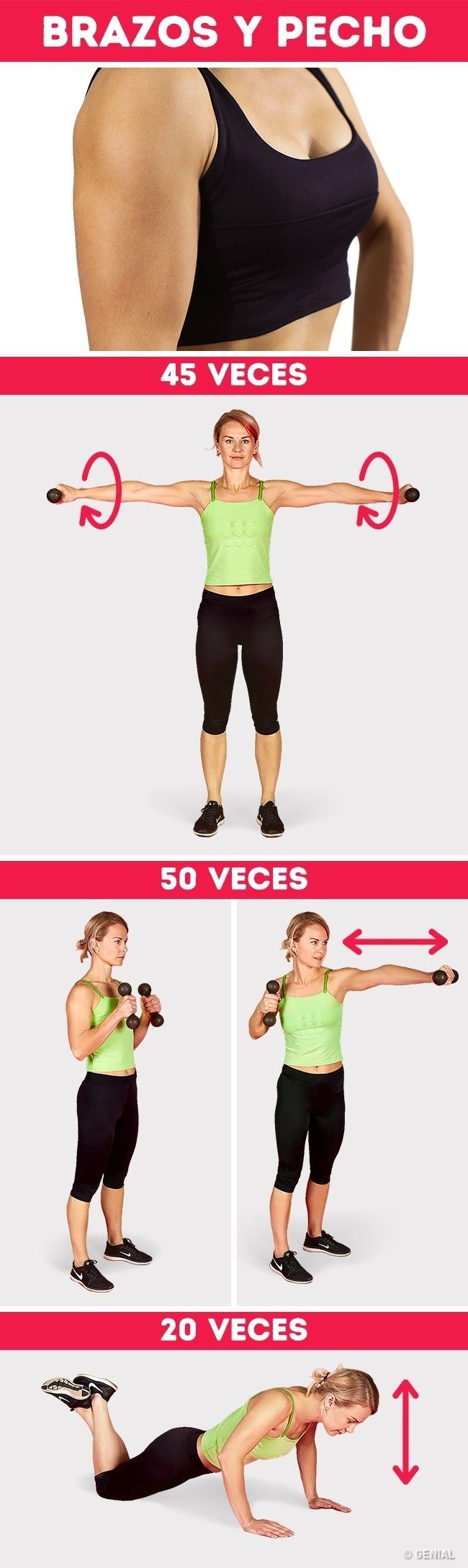 Sólo Necesitas Un Par De Pesas Y Voluntad Para Tener Brazos Sexys Ejercicios Para Brazos Rutina Para Brazos Paso A Easy Yoga Workouts Workout Plan Workout