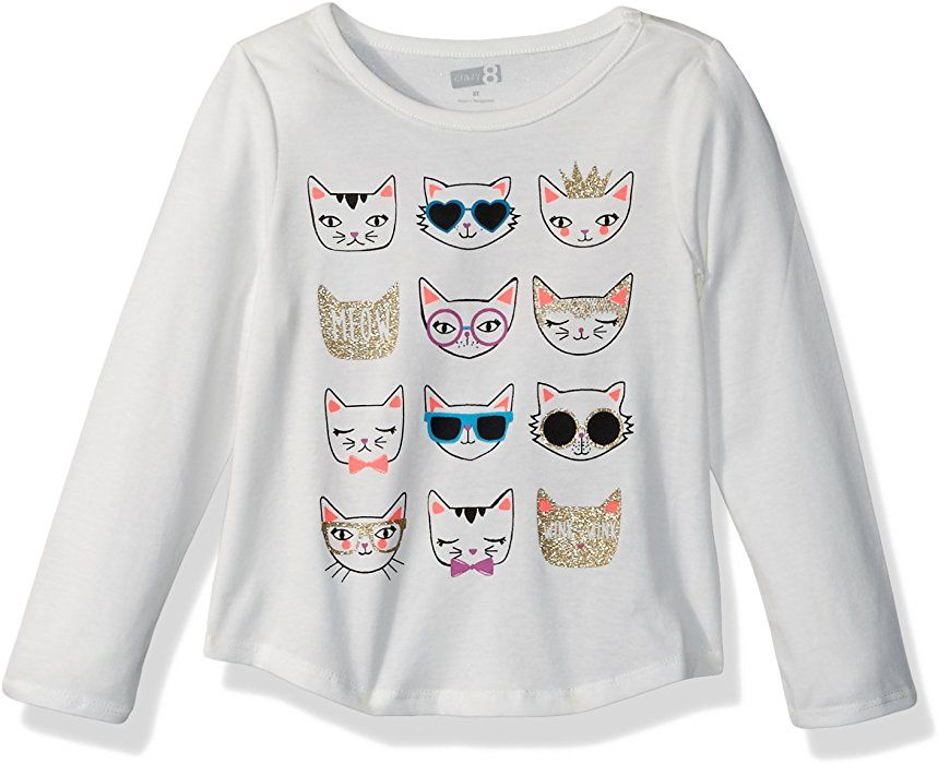 7ef8d2049231 Amazon.com: Crazy 8 Toddler Girls' Long Sleeve Graphic Tee, Pink Girls  Print, 2T: Clothing